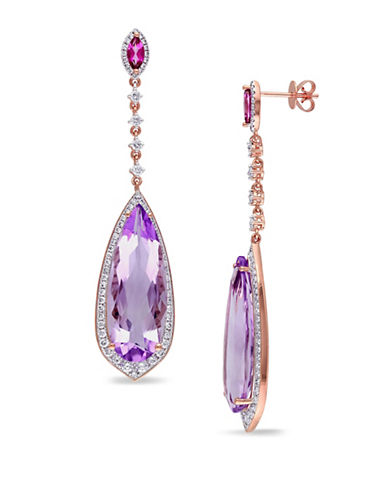 Concerto 1.5 TCW Diamond, 14K Rose Gold, Amethyst, and Pink Topaz Teardrop Earrings-PURPLE-One Size