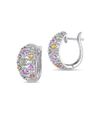 Concerto Multi-Colour Sapphire, 0.24 TCW Diamond and 14K White Gold Filigree Hoop Earrings-MULTI-One Size