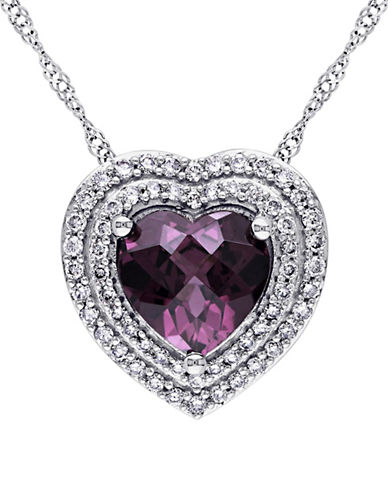 Concerto Rhodolite, 0.27 TCW Diamond and 14K White Gold Halo Heart Necklace-PURPLE-One Size