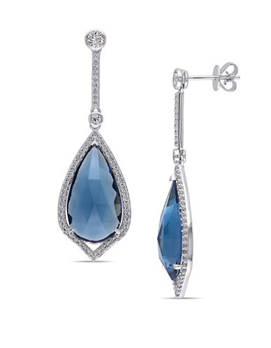 Concerto Blue Topaz, 0.60 TCW Diamond, White Sapphire and 14K White Gold Dangle Earrings-BLUE-One Size