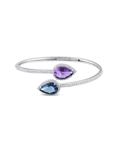 Concerto 0.75 TCW Diamonds, 14K White Gold, Amethyst and Blue Topaz Bangle Bracelet-MULTI-One Size