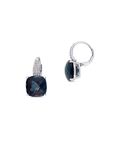 Concerto Blue Topaz, 0.20 TCW Diamond and 14K White Gold Earrings-BLUE-One Size