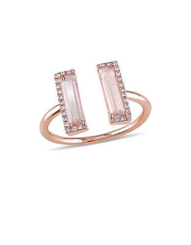 Concerto 14K Rose Gold, Pink Quartz and 0.1 TCW Diamond Halo Open Ring-PINK-7