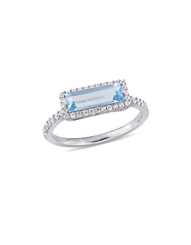 Concerto Sterling Silver, Blue Topaz and White Sapphire Halo Solitaire Ring-BLUE-6