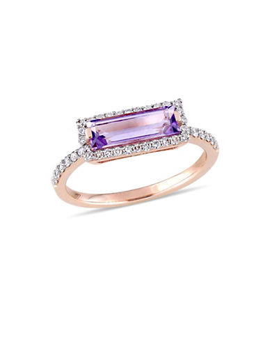 Concerto 14K Rose Gold, Amethyst and 0.25 TCW Diamond Halo Solitaire Ring-PURPLE-8