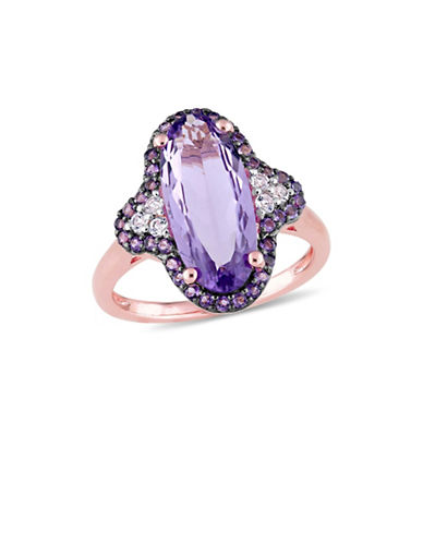 Concerto Sterling Silver, Amethyst and White Topaz Solitaire Ring-PURPLE-7