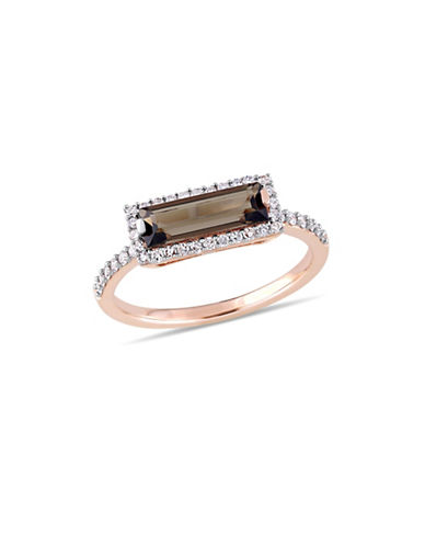 Concerto 14K Rose Gold, Smokey Quartz and 0.25 TCW Diamond Halo Solitaire Ring-BROWN-5