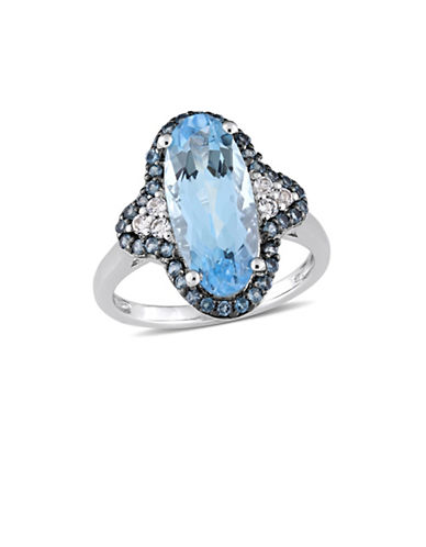 Concerto Sterling Silver, Blue and White Topaz Halo Quatrefoil Cocktail Ring-BLUE-7