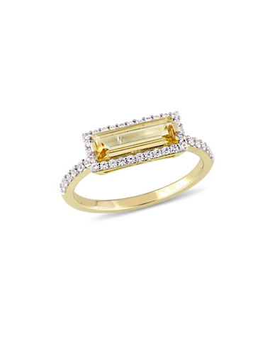 Concerto Sterling Silver, Citrine and White Sapphire Halo Solitaire Ring-YELLOW-7