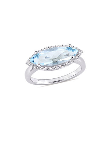 Concerto Sterling Silver, Blue and White Topaz Halo Solitaire Ring-BLUE-7