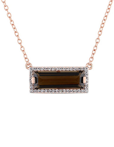 Concerto Sterling Silver, Smokey Quartz and White Sapphire Halo Pendant Necklace-BROWN-One Size