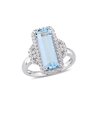 Concerto Sterling Silver, Blue and White Topaz Halo Solitaire Ring-BLUE-5