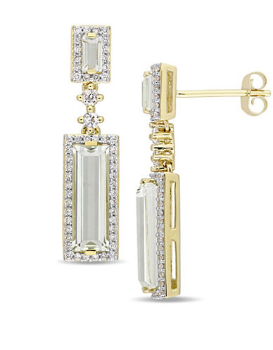 Concerto 14K Yellow Gold, Green Amethyst and 0.33 TCW Diamond Halo Dangle and Drop Earrings-GREEN-One Size