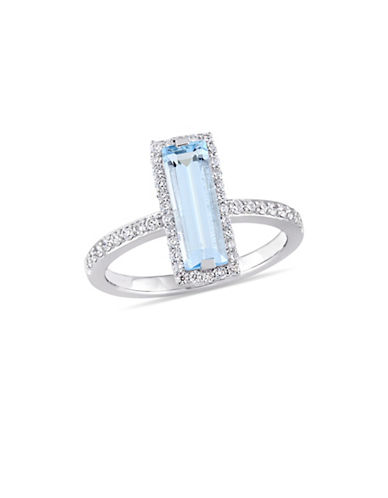 Concerto 14K White Gold, Blue Topaz and 0.33 TCW Diamond Halo Solitaire Ring-BLUE-6