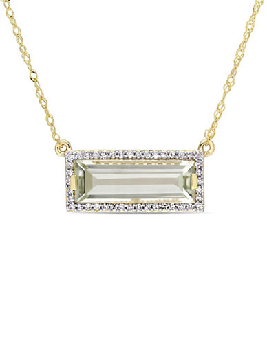 Concerto 14K Yellow Gold, Green Amethyst and 0.13 TCW Diamond Halo Pendant Necklace-GREEN-One Size