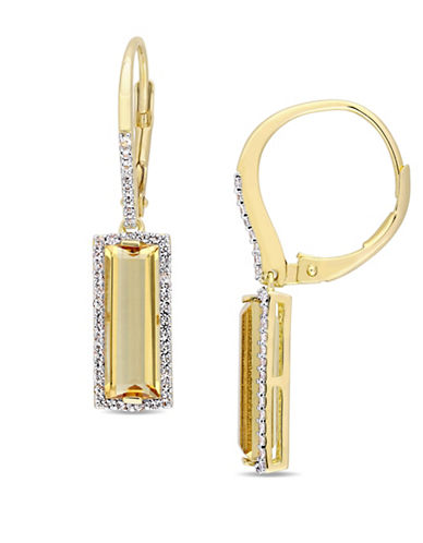 Concerto Sterling Silver, Citrine and White Sapphire Halo Dangle and Drop Earrings-YELLOW-One Size