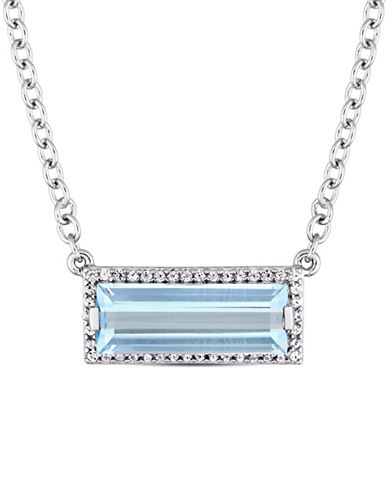 Concerto Sterling Silver, Blue Topaz and White Sapphire Halo Pendant Necklace-BLUE-One Size