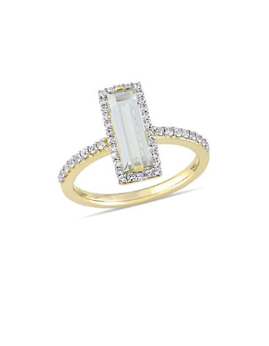 Concerto Sterling Silver, Green Amethyst and White Sapphire Halo Solitaire Ring-GREEN-8