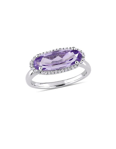 Concerto Sterling Silver, Amethyst and White Topaz Halo Solitaire Ring-PURPLE-6