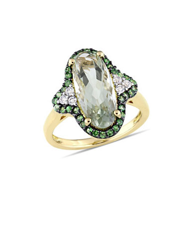 Concerto Sterling Silver, Green Amethyst, Tsavorite and White Topaz Halo Quatrefoil Cocktail Ring-GREEN-7