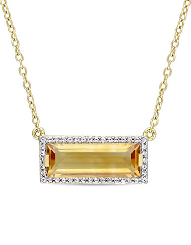 Concerto Sterling Silver, Citrine and White Sapphire Halo Pendant Necklace-YELLOW-One Size