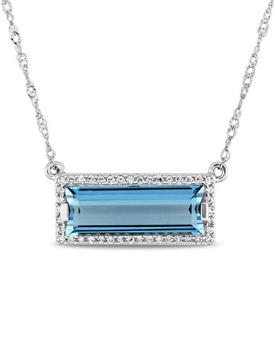 Concerto 14K White Gold, Blue Topaz and 0.13 TCW Diamond Halo Pendant Necklace-BLUE-One Size