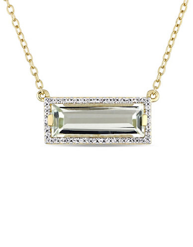 Concerto Sterling Silver, Green Amethyst and White Sapphire Halo Pendant Necklace-GREEN-One Size
