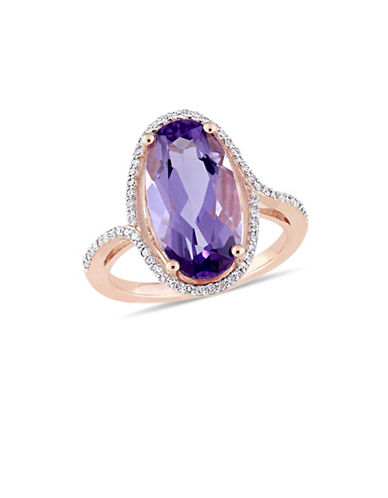 Concerto 14K Rose Gold, Amethyst and 0.20 TCW Diamond Halo Solitaire Ring-PURPLE-6