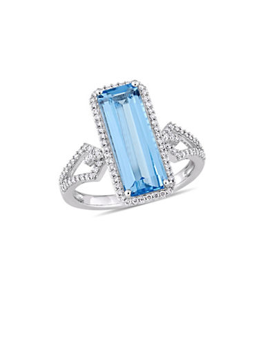 Concerto 14K White Gold, Blue Topaz and 0.33 TCW Diamond Halo Geometric Solitaire Ring-BLUE-8