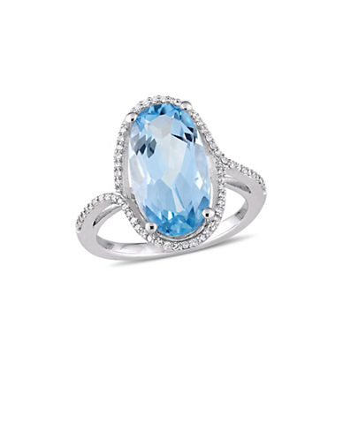 Concerto 14K White Gold, Blue Topaz and 0.2 TCW Diamond Halo Solitaire Ring-BLUE-8