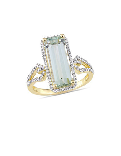 Concerto 14K Yellow Gold, Green Amethyst and 0.33 TCW Diamond Halo Solitaire Ring-GREEN-6