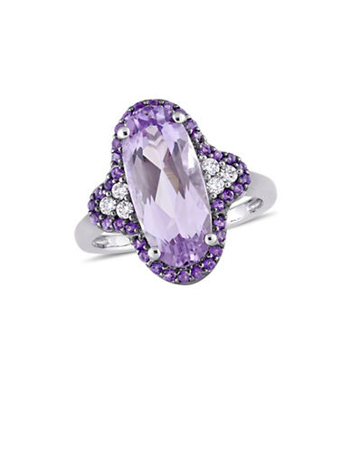 Concerto 14K White Gold, Amethyst, 0.13 TCW Diamond Quatrefoil Cocktail Ring-PURPLE-7