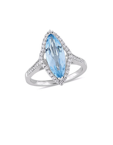 Concerto 14K White Gold, Blue Topaz and 0.33 TCW Diamond Halo Solitaire Ring-BLUE-7