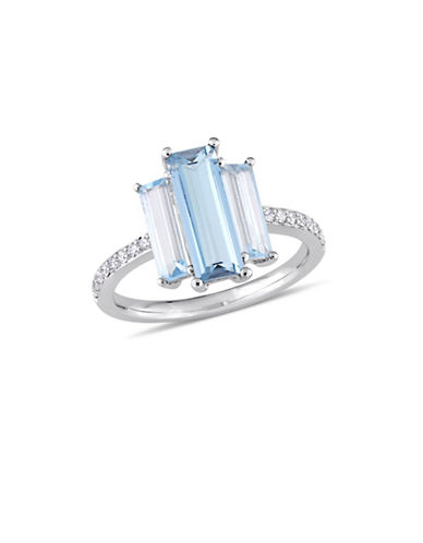Concerto 14K White Gold, Blue Topaz and 0.14 TCW Diamond Solitaire Ring-BLUE-8