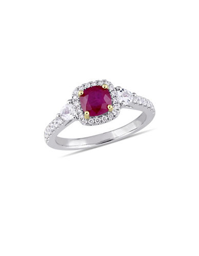 Concerto 14K White Gold, Yellow Gold, Ruby, Sapphire and 0.33 TCW Diamond Halo Solitaire Ring-RED-8