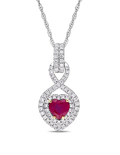 Concerto 14K White Gold, Yellow Gold, Ruby And 0.33 TCW Diamond Infinity Heart Necklace-RED-One Size