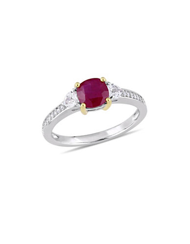 Concerto 14K White Gold, Yellow Gold, Ruby, White Sapphire And 0.1 TCW Diamond 3-Stone Ring-RED-9