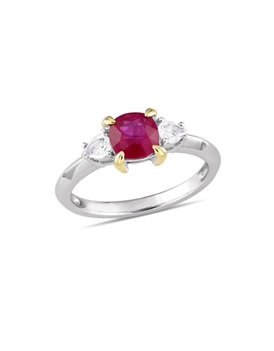 Concerto 14K White Gold, Yellow Gold, Ruby And White Sapphire 3-Stone Ring-RED-6