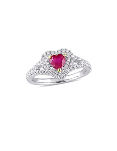 Concerto 14K White Gold, Yellow Gold, Ruby And 0.4 TCW Diamond Double Halo Heart Ring-RED-6