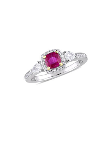 Concerto 14K White Gold, Yellow Gold, Ruby, White Sapphire And 0.12 TCW Diamond 3-Stone Ring-RED-6
