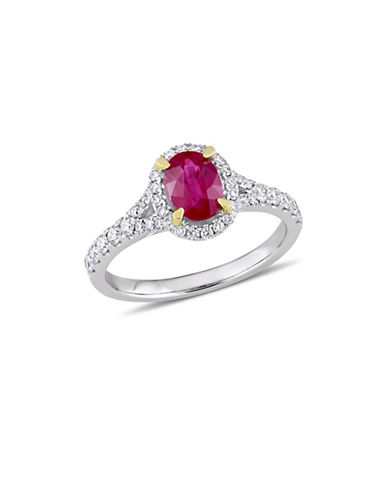 Concerto 14K White Gold, Yellow Gold, Ruby And 0.5 TCW Diamond Halo Ring-RED-7