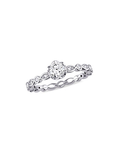 Concerto 0.5 TCW Diamond Raised Scalloped Engagement Ring with Marquise Design Gallery in 14K White Gold-WHITE-8