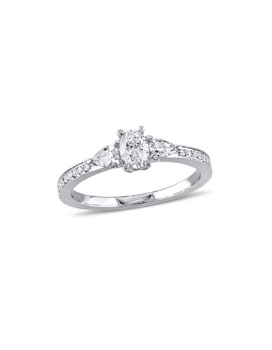 Concerto 0.6 TCW Diamond Three-Stone Vintage Engagement Ring in 14K White Gold-WHITE-7
