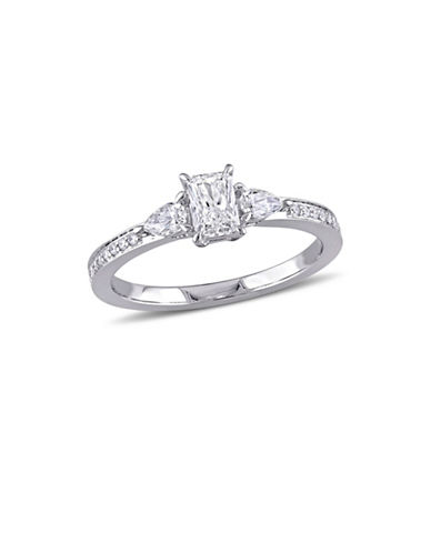 Concerto 0.625 TCW Radiant and Pear-Cut Three-Stone Diamond Vintage Engagement Ring in 14K White Gold-WHITE-9