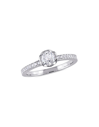 Concerto 0.625 TCW Diamond Floral Raised Engagement Ring with Heart Design Gallery in 14K White Gold-WHITE-8