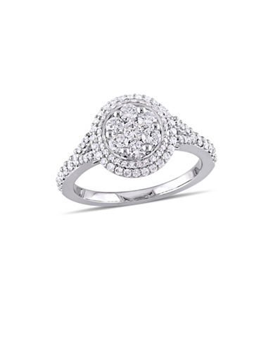 Concerto 1 TCW Diamond Cluster Vintage Halo Engagement Ring in 14K White Gold-WHITE-8