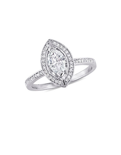 Concerto 0.8 TCW Diamond Marquise Floating Halo Engagement Ring in 14K White Gold-WHITE-9