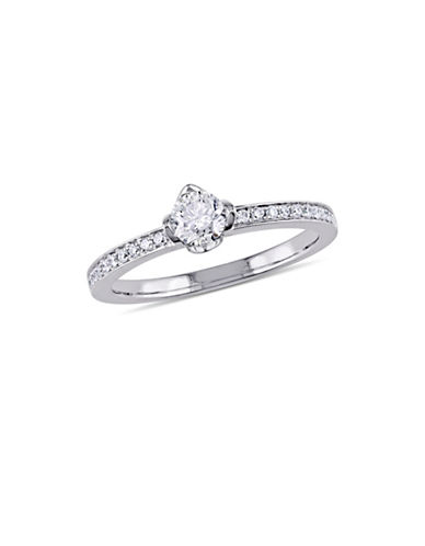 Concerto 0.5 TCW Diamond Raised Floral Engagement Ring with Marquise Design Gallery in 14K White Gold-WHITE-7