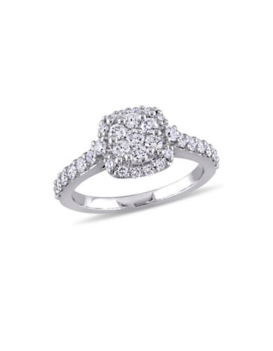 Concerto 1 TCW Diamond Cluster Vintage Halo Engagement Ring in 14K White Gold-WHITE-7
