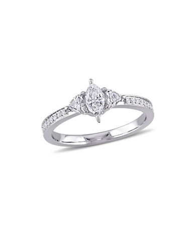 Concerto 0.625 TCW Marquise and Heart-Cut Three-Stone Diamond Vintage Engagement Ring in 14K White Gold-WHITE-5